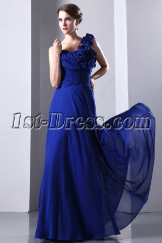 Elegant One Shoulder Chiffon A-line Military Party Gown