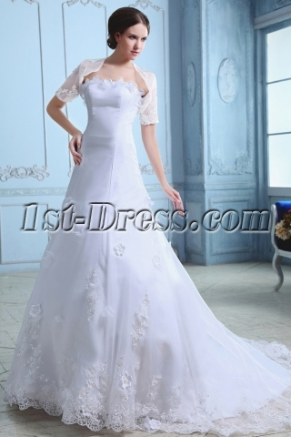 Elegant Organza A-line Princess Wedding Gown with Short Jacket