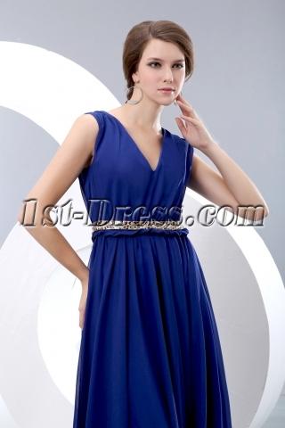 Elegant Royal blue V-neckline Chiffon Evening Dress with Belt