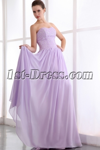 Elegant Sweetheart Beaded Long Lavender Chiffon Plus Size Prom Dress