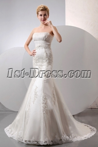 Elegant Sweetheart Long Lace Sheath Wedding Dress