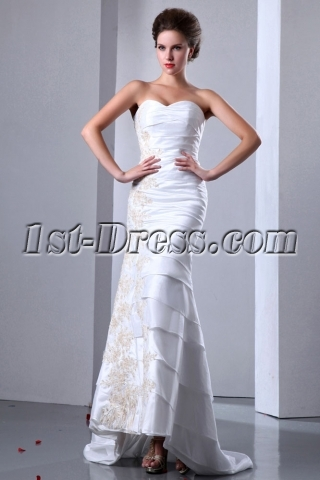 Elegant Sweetheart Taffeta Sheath Beach Bridal Gowns