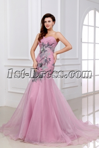 Exquisite Applique Body Pink Long Formal Mermaid Cocktail Dress