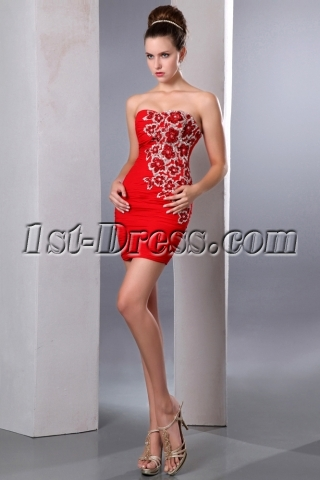Exquisite Red Mini Short Party Cocktail Dress