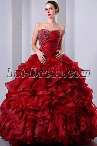 Fancy Burgundy Puffy baile de debutantes Dress Sweetheart