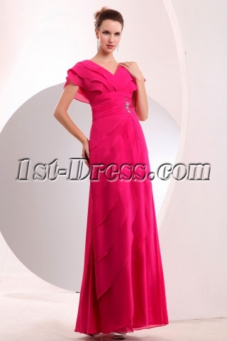 Fancy Hot Pink Butterfly Sleeves Chiffon Evening Dress