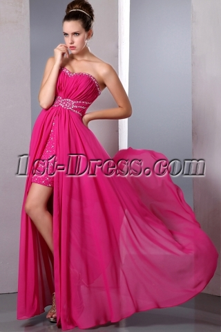 Fancy Hot Pink High Low Hem Prom Dresses under 200