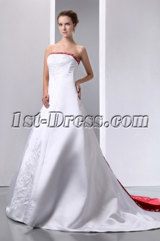 Fantastic Ivory and Burgundy Embroidery Satin Wedding Dress