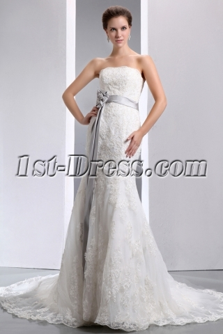 Fit-and-flare Strapless Lace Wedding Dresses with Silver Sash