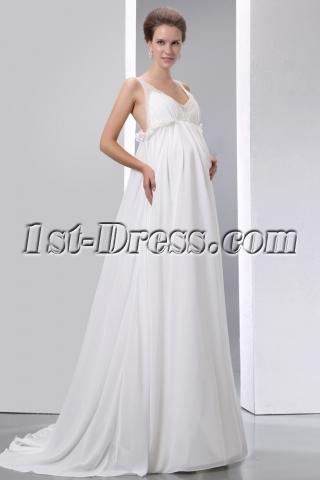 Flowing Chiffon Low Back Maternity Wedding Dresses with Straps