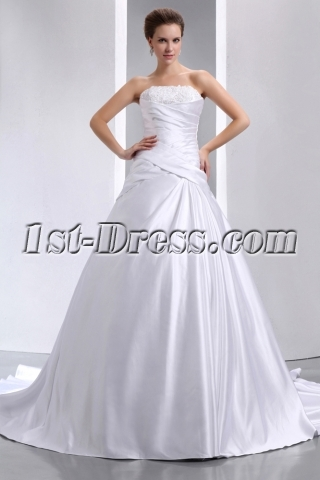 Glamorous Affordable Strapless Satin Bridal Gown