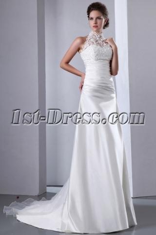 Graceful Lace Illusion High Neckline A-line Wedding Dress