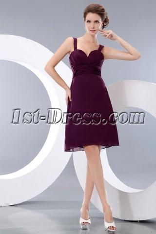 Grape Straps Sweetheart Mini Short Party Dress