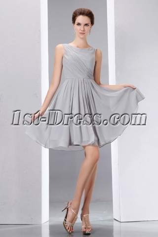 Gray Bateau Sleeveless Chiffon Short Homecoming Dresses