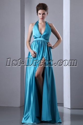 Halter Plunge V-neckline Sexy Long Prom Dress with Slit