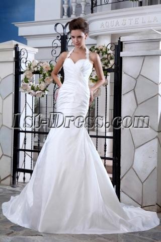 Halter Sheath Taffeta Bridal Gowns for Beach Weddings