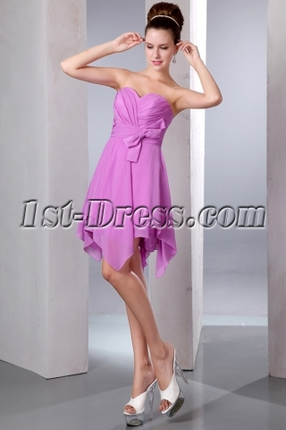 Lilac Sweetheart A-line Short Chiffon Asymmetrical Bridesmaid Dresses