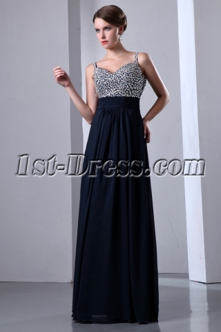 Luxurious Spaghetti Straps Jeweled Long Evening Dress