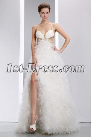 Luxury Sexy Criss-cross Ruffled Summer Beach Wedding Dress with Slit