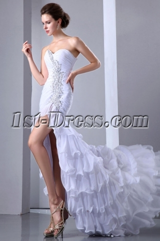 Luxury White Slit Engagement Celebrity Dress with Train