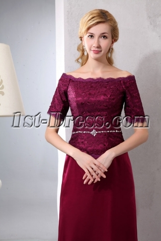 Mock 2 Pieces Off Shoulder Mother of Groom Gown with Short Sleeves