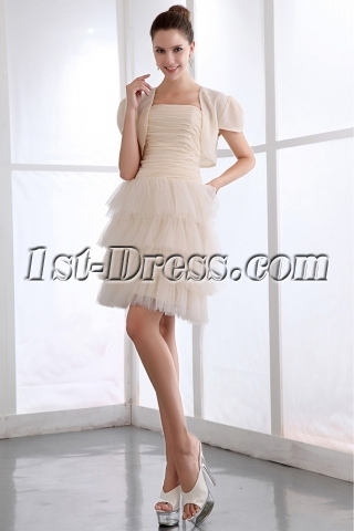 Modest Champagne Layers Short Homecoming Dress with Short Jacket