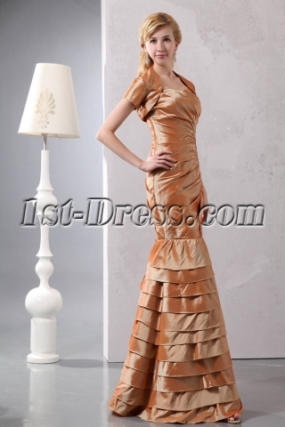 Modest Champagne Long Sheath Mother of Groom with Short Sleeves Jacket for Petite