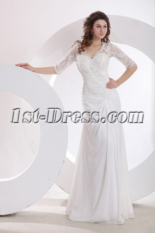 Modest Lace A-line Bridal Gown with Middle Sleeves