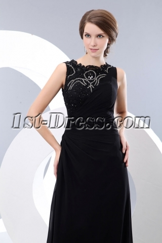 Modest Long Lace Black Formal Evening Party Dress