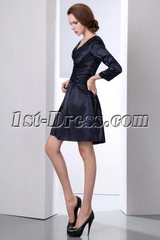 Modest Navy Blue Long Sleeves Short Mother of Groom Dress