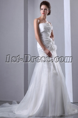 Organza Dropped Waist Strapless Wedding Gown Cheap with Flowers