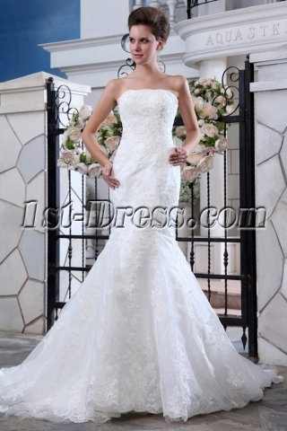 Organza Modern Trumpet Style Lace Wedding Gowns