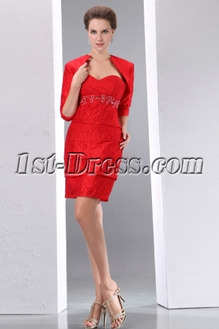 Perfect Red Special Guests Dresses with Jacket