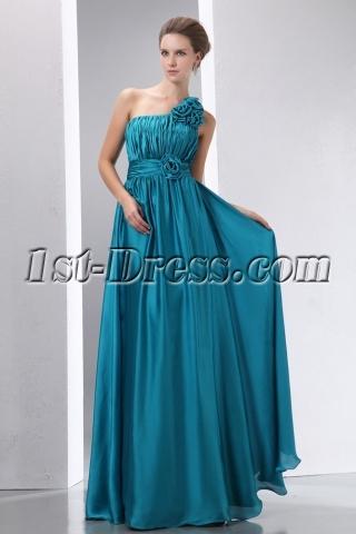 Popular Teal Blue Floral One Shoulder Evening Dress