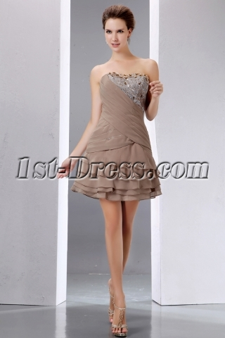 Pretty Beading Brown Short Prom Dress