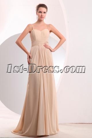 Pretty Champagne Chiffon Slit Long Prom Dress with Train