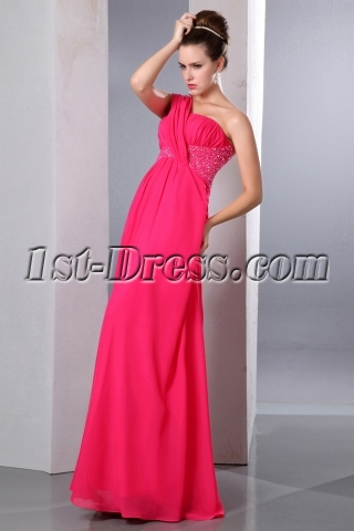 Pretty Coral One Shoulder Chiffon Empire Pregnant Prom Party Dress