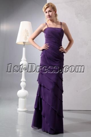 Pretty Criss-cross Dark Purple Layers Long Homecoming Dress