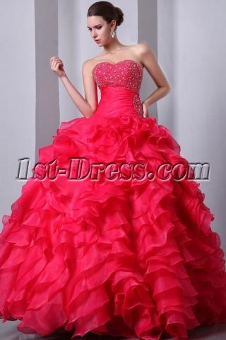 Pretty Fuchsia Puffy Ruffled Quince Dress 15