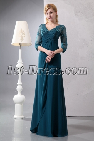 Pretty Hunter Green Lace Long Sleeves Mother of Groom Gown