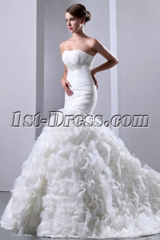 Pretty Ruffle Mermaid Bridal Gowns 2014 with Ostrich Feathers