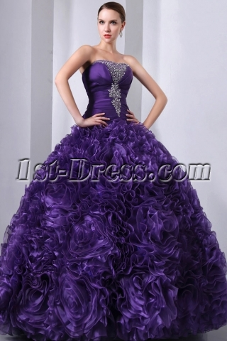Purple 3D Handmade Flowers Ruffled Quinceanera Gown 2014