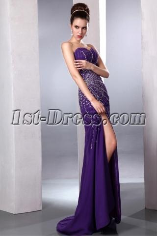 Purple Brilliant Sexy Slit Front Evening Cocktail Dress