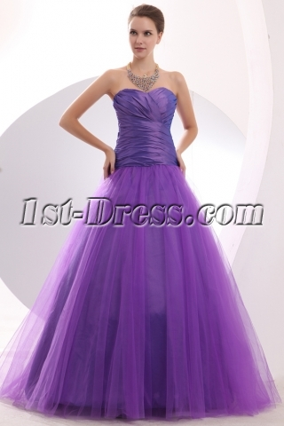 Purple Drop Waist Taffeta Puffy 15 Quinceanera Gowns