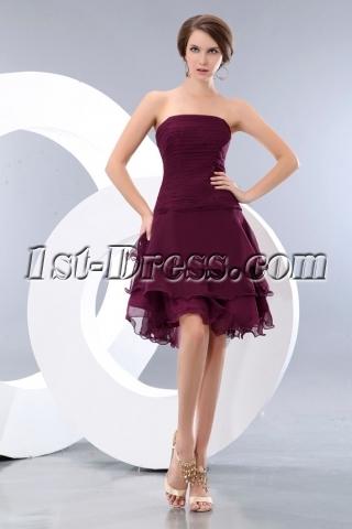 Romantic Grape Layers Short Prom Dresses