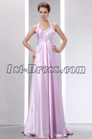 Romantic Lilac Halter Floor Length Prom Gown for Full Figure