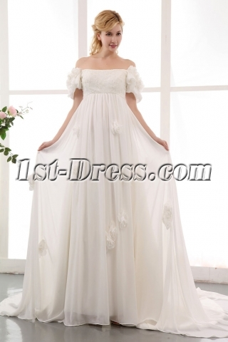 Romantic Off Shoulder Floral Chiffon Bridal Gowns with Train