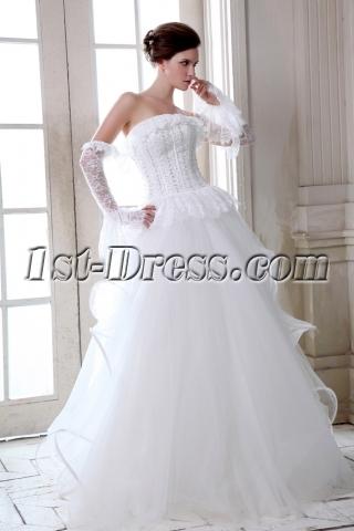 Romantic Strapless Gothic Lace Wedding Dresses 2014