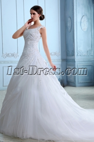 Romantic Taffeta A-line Wedding Dresses Brisbane with Cap Sleeves