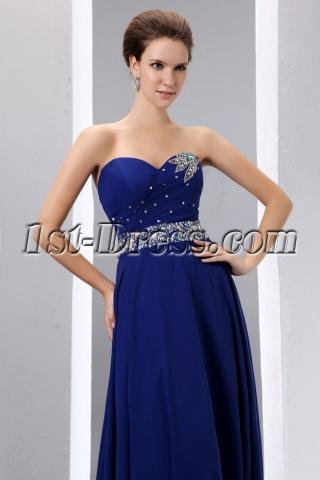 Royal Blue A-line Long Chiffon Evening Dress 2014 for Spring